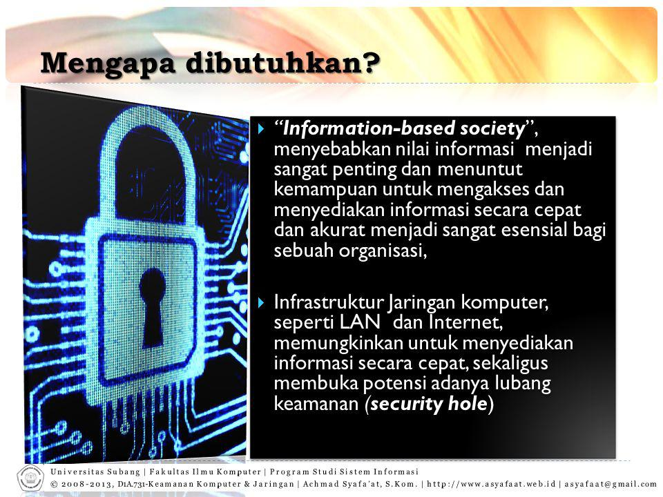 """Mengapa dibutuhkan?  """"Information-based society"""", menyebabkan nilai informasi menjadi sangat penting dan menuntut kemampuan untuk mengakses dan menye"""