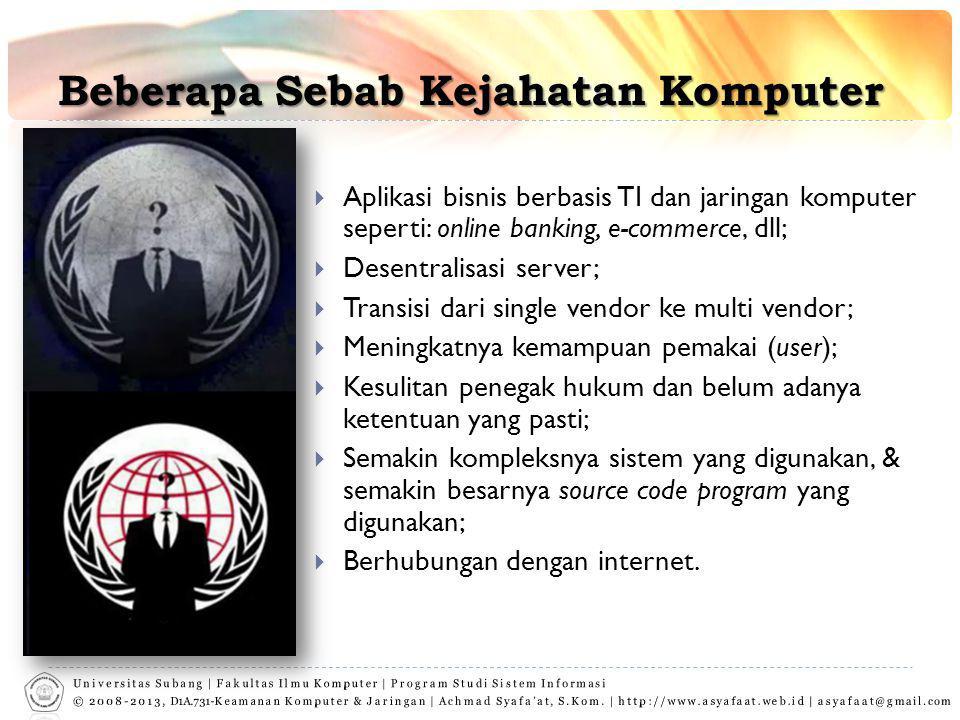 Beberapa Sebab Kejahatan Komputer  Aplikasi bisnis berbasis TI dan jaringan komputer seperti: online banking, e-commerce, dll;  Desentralisasi serve