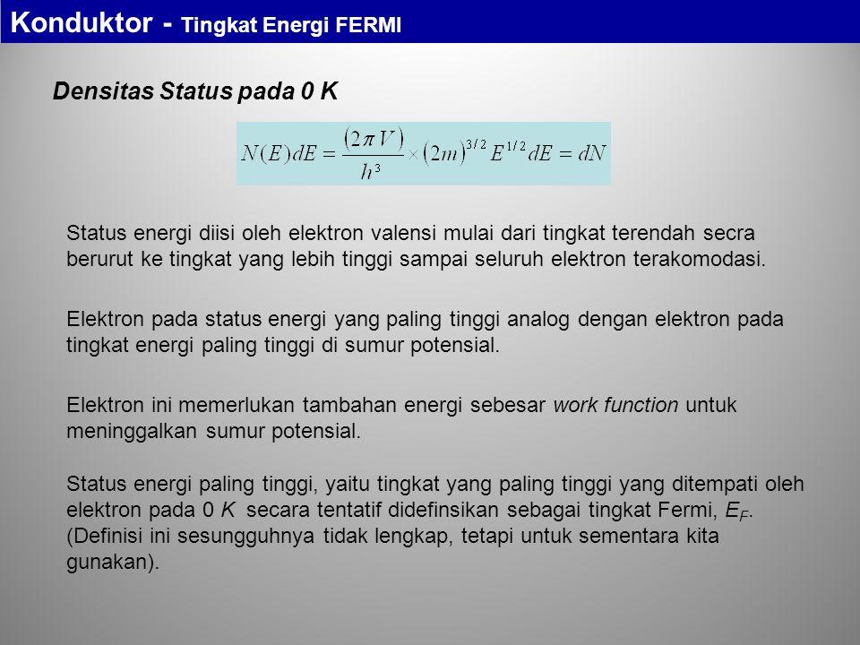 Densitas Status pada 0 K Status energi diisi oleh elektron valensi mulai dari tingkat terendah secra berurut ke tingkat yang lebih tinggi sampai selur