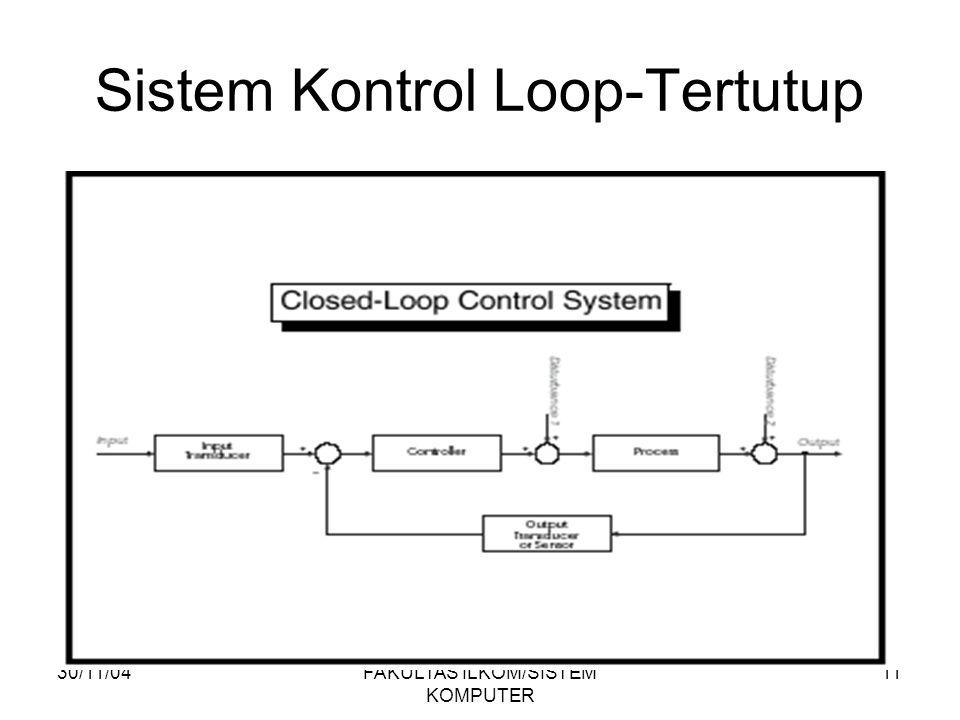 30/11/04FAKULTAS ILKOM/SISTEM KOMPUTER 11 Sistem Kontrol Loop-Tertutup