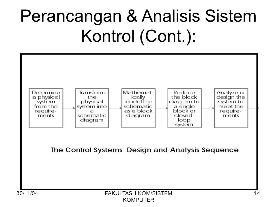 30/11/04FAKULTAS ILKOM/SISTEM KOMPUTER 14 Perancangan & Analisis Sistem Kontrol (Cont.):