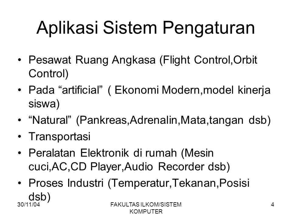 30/11/04FAKULTAS ILKOM/SISTEM KOMPUTER 4 Aplikasi Sistem Pengaturan Pesawat Ruang Angkasa (Flight Control,Orbit Control) Pada artificial ( Ekonomi Modern,model kinerja siswa) Natural (Pankreas,Adrenalin,Mata,tangan dsb) Transportasi Peralatan Elektronik di rumah (Mesin cuci,AC,CD Player,Audio Recorder dsb) Proses Industri (Temperatur,Tekanan,Posisi dsb)