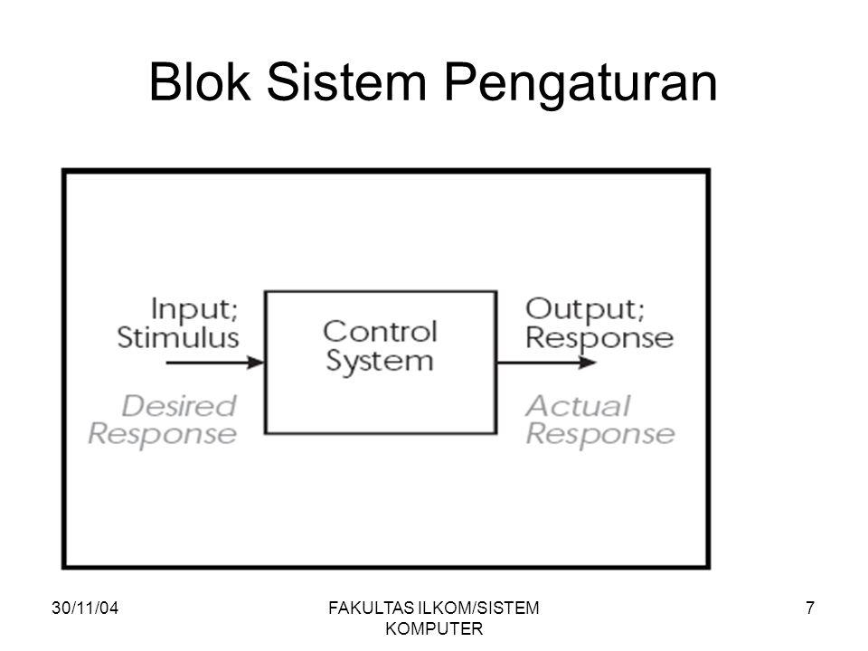 30/11/04FAKULTAS ILKOM/SISTEM KOMPUTER 8 Sistem Kontrol 2 jenis: Open-Loop (Loop terbuka) : Sistem kontrol yang keluarannya tidak mempengaruhi terhadap aksi pengontrolannya.