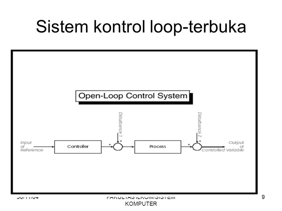 30/11/04FAKULTAS ILKOM/SISTEM KOMPUTER 20 Kinerja dari Sistem Kontrol: Respon Transien : (Routh Hurwitz,Kesalahan keadaan tunak) Tempat Kedudukan Akar (TKA) Diagram Bode Nyquist Root-Locus State Space