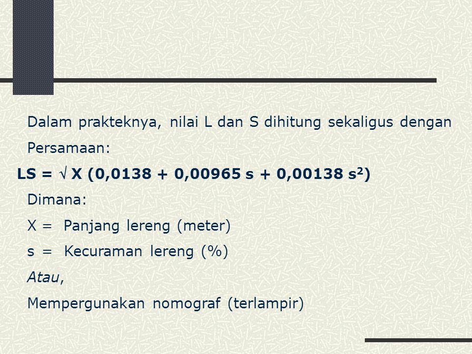 Dalam prakteknya, nilai L dan S dihitung sekaligus dengan Persamaan: LS =  X (0,0138 + 0,00965 s + 0,00138 s 2 ) Dimana: X= Panjang lereng (meter) s=Kecuraman lereng (%) Atau, Mempergunakan nomograf (terlampir)