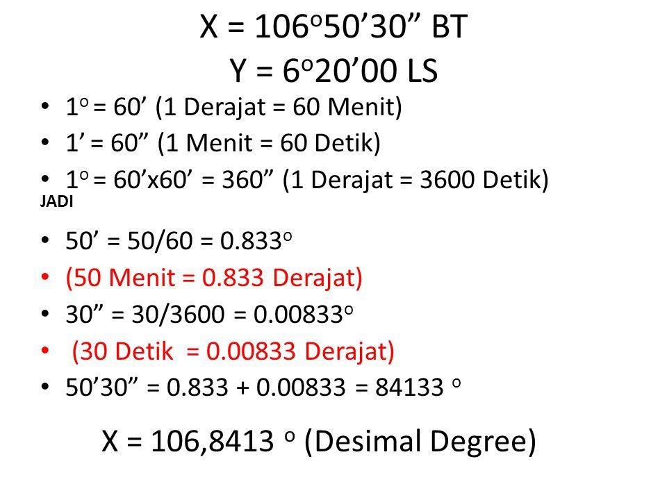 """1 o = 60' (1 Derajat = 60 Menit) 1' = 60"""" (1 Menit = 60 Detik) 1 o = 60'x60' = 360"""" (1 Derajat = 3600 Detik) JADI 50' = 50/60 = 0.833 o (50 Menit = 0."""