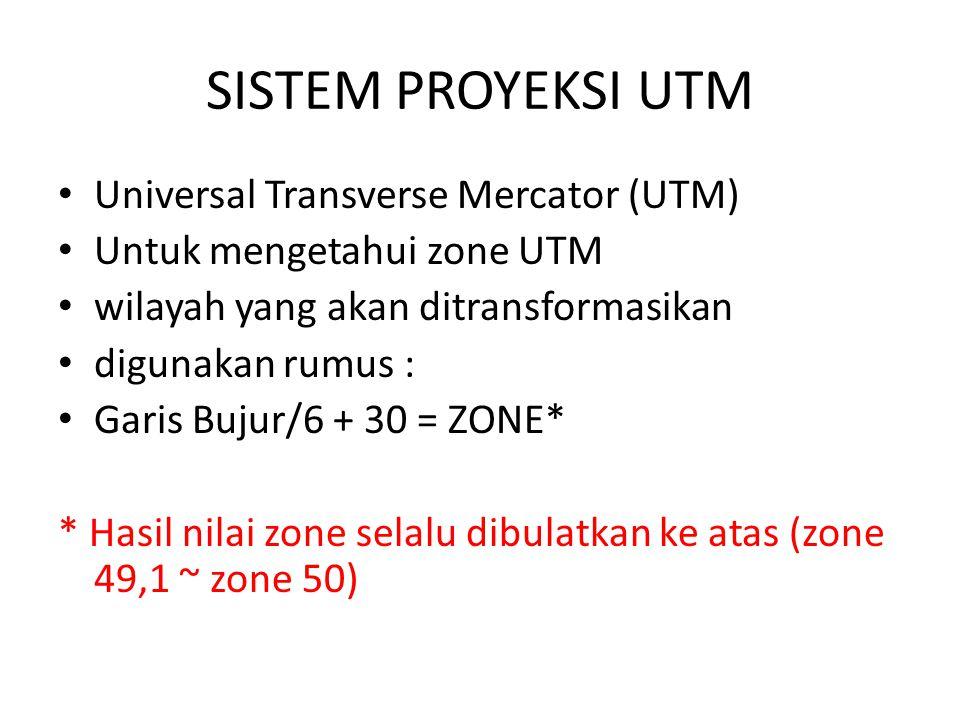 SISTEM PROYEKSI UTM Universal Transverse Mercator (UTM) Untuk mengetahui zone UTM wilayah yang akan ditransformasikan digunakan rumus : Garis Bujur/6