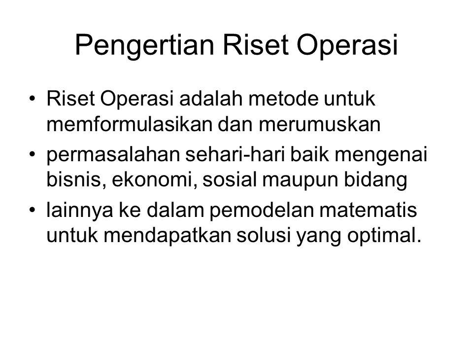 Pengertian Riset Operasi Riset Operasi adalah metode untuk memformulasikan dan merumuskan permasalahan sehari-hari baik mengenai bisnis, ekonomi, sosi