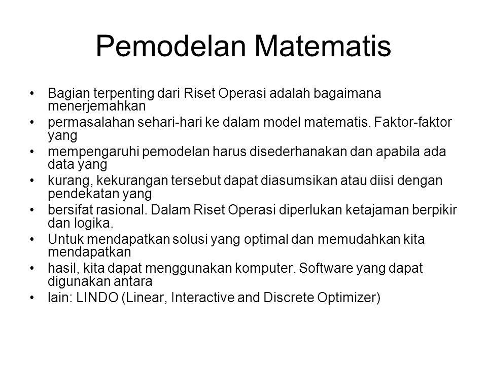 Pemodelan Matematis Bagian terpenting dari Riset Operasi adalah bagaimana menerjemahkan permasalahan sehari-hari ke dalam model matematis. Faktor-fakt