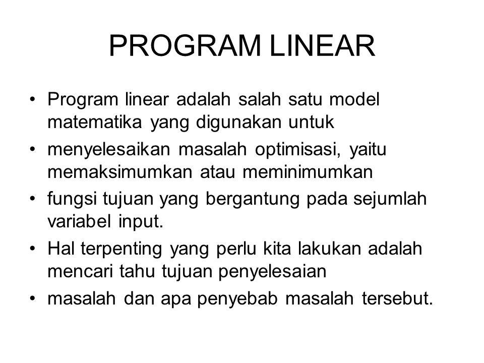 PROGRAM LINEAR Program linear adalah salah satu model matematika yang digunakan untuk menyelesaikan masalah optimisasi, yaitu memaksimumkan atau memin