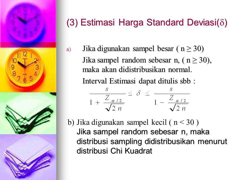 (3) Estimasi Harga Standard Deviasi(  ) a) Jika digunakan sampel besar ( n ≥ 30) Jika sampel random sebesar n, ( n ≥ 30), maka akan didistribusikan normal.