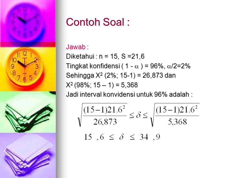 Contoh Soal : Jawab : Diketahui : n = 15, S =21,6 Tingkat konfidensi ( 1 -  ) = 96%,  /2=2% Sehingga X 2 (2%; 15-1) = 26,873 dan X 2 (98%; 15 – 1) = 5,368 Jadi interval konvidensi untuk 96% adalah :