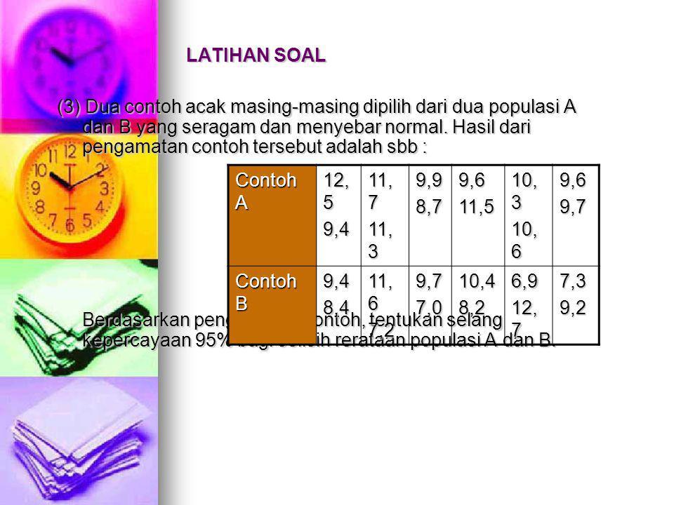 LATIHAN SOAL (3) Dua contoh acak masing-masing dipilih dari dua populasi A dan B yang seragam dan menyebar normal.