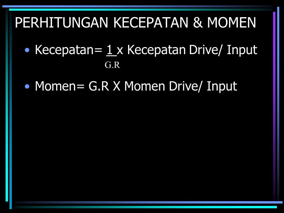 PERHITUNGAN KECEPATAN & MOMEN Kecepatan= 1 x Kecepatan Drive/ Input Momen= G.R X Momen Drive/ Input G.R