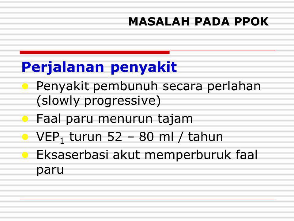 MASALAH PADA PPOK Perjalanan penyakit Penyakit pembunuh secara perlahan (slowly progressive)  Faal paru menurun tajam VEP 1 turun 52 – 80 ml / tahun