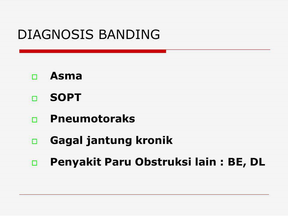 DIAGNOSIS BANDING  Asma  SOPT  Pneumotoraks  Gagal jantung kronik  Penyakit Paru Obstruksi lain : BE, DL