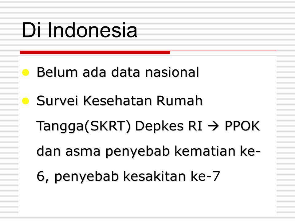 Di Indonesia Belum ada data nasional Belum ada data nasional Survei Kesehatan Rumah Tangga(SKRT) Depkes RI  PPOK dan asma penyebab kematian ke- 6, penyebab kesakitan Survei Kesehatan Rumah Tangga(SKRT) Depkes RI  PPOK dan asma penyebab kematian ke- 6, penyebab kesakitan ke-7