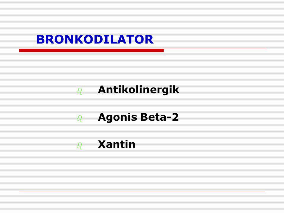 BRONKODILATOR  Antikolinergik  Agonis Beta-2  Xantin