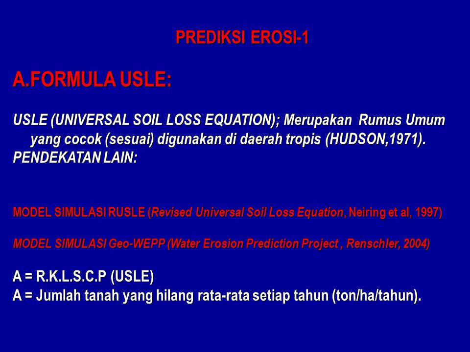 PREDIKSI EROSI-1 A.FORMULA USLE: USLE (UNIVERSAL SOIL LOSS EQUATION); Merupakan Rumus Umum yang cocok (sesuai) digunakan di daerah tropis (HUDSON,1971).