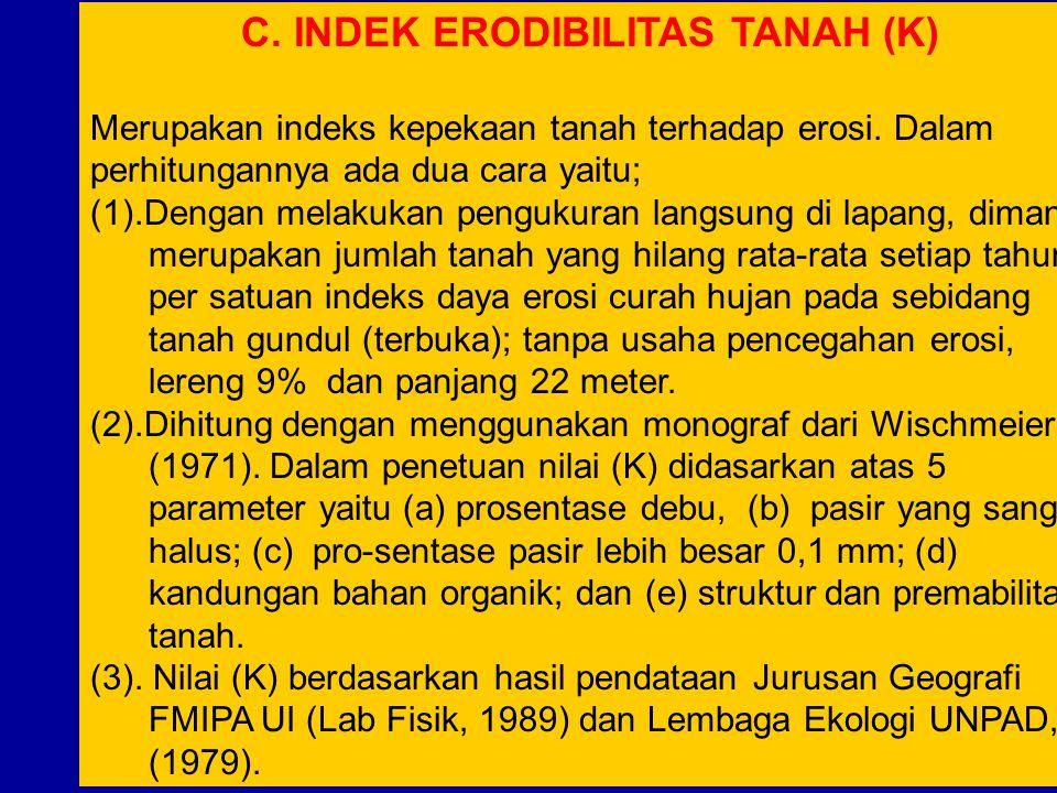 C.INDEK ERODIBILITAS TANAH (K) Merupakan indeks kepekaan tanah terhadap erosi.