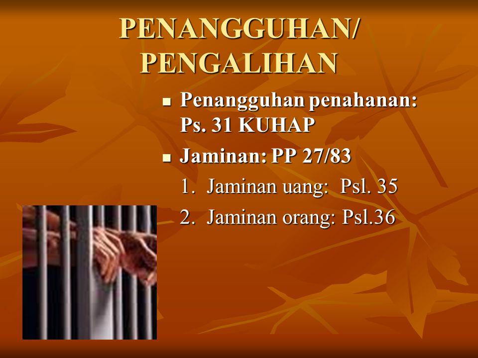 PENANGGUHAN/ PENGALIHAN Penangguhan penahanan: Ps. 31 KUHAP Penangguhan penahanan: Ps. 31 KUHAP Jaminan: PP 27/83 Jaminan: PP 27/83 1. Jaminan uang: P