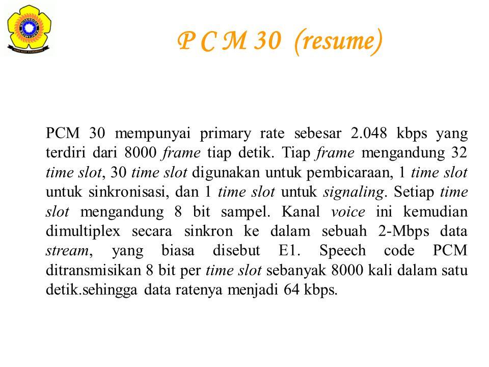 PCM 30 mempunyai primary rate sebesar 2.048 kbps yang terdiri dari 8000 frame tiap detik. Tiap frame mengandung 32 time slot, 30 time slot digunakan u