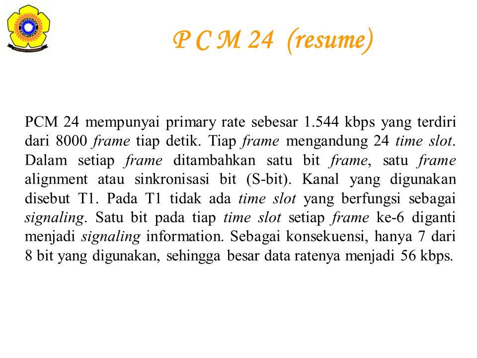 PCM 24 mempunyai primary rate sebesar 1.544 kbps yang terdiri dari 8000 frame tiap detik. Tiap frame mengandung 24 time slot. Dalam setiap frame ditam