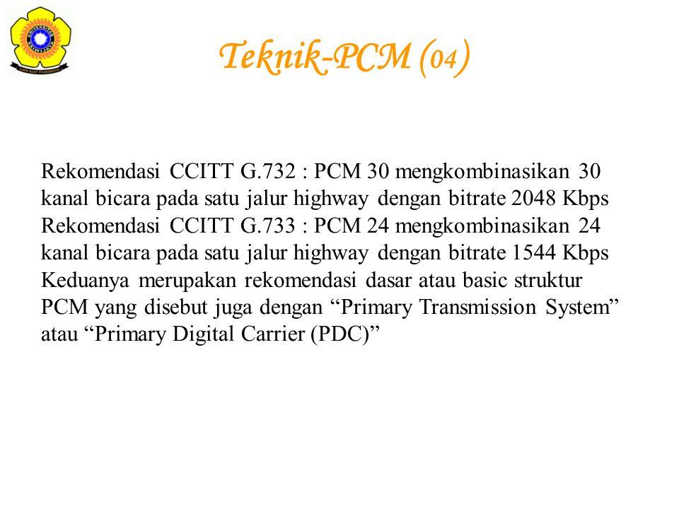 Rekomendasi CCITT G.732 : PCM 30 mengkombinasikan 30 kanal bicara pada satu jalur highway dengan bitrate 2048 Kbps Rekomendasi CCITT G.733 : PCM 24 me