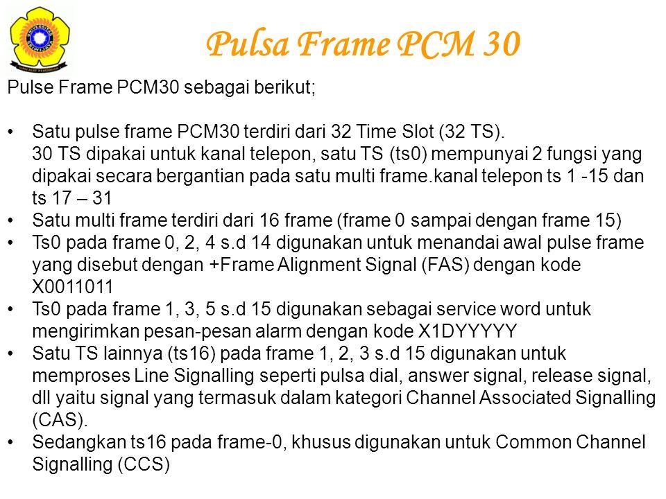 Pulse Frame PCM30 sebagai berikut; Satu pulse frame PCM30 terdiri dari 32 Time Slot (32 TS). 30 TS dipakai untuk kanal telepon, satu TS (ts0) mempunya