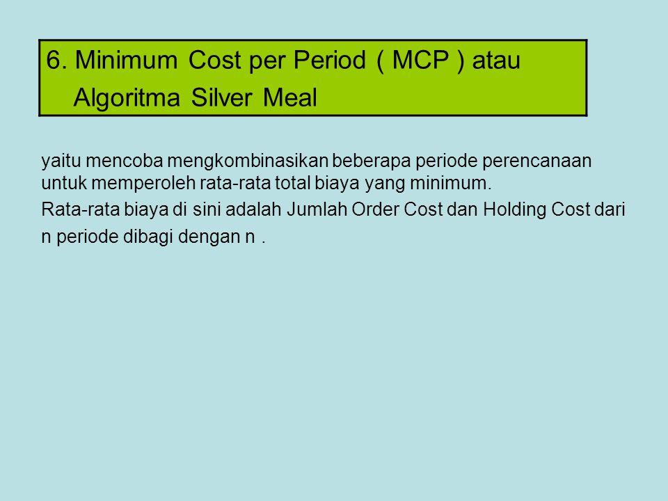 6. Minimum Cost per Period ( MCP ) atau Algoritma Silver Meal yaitu mencoba mengkombinasikan beberapa periode perencanaan untuk memperoleh rata-rata t