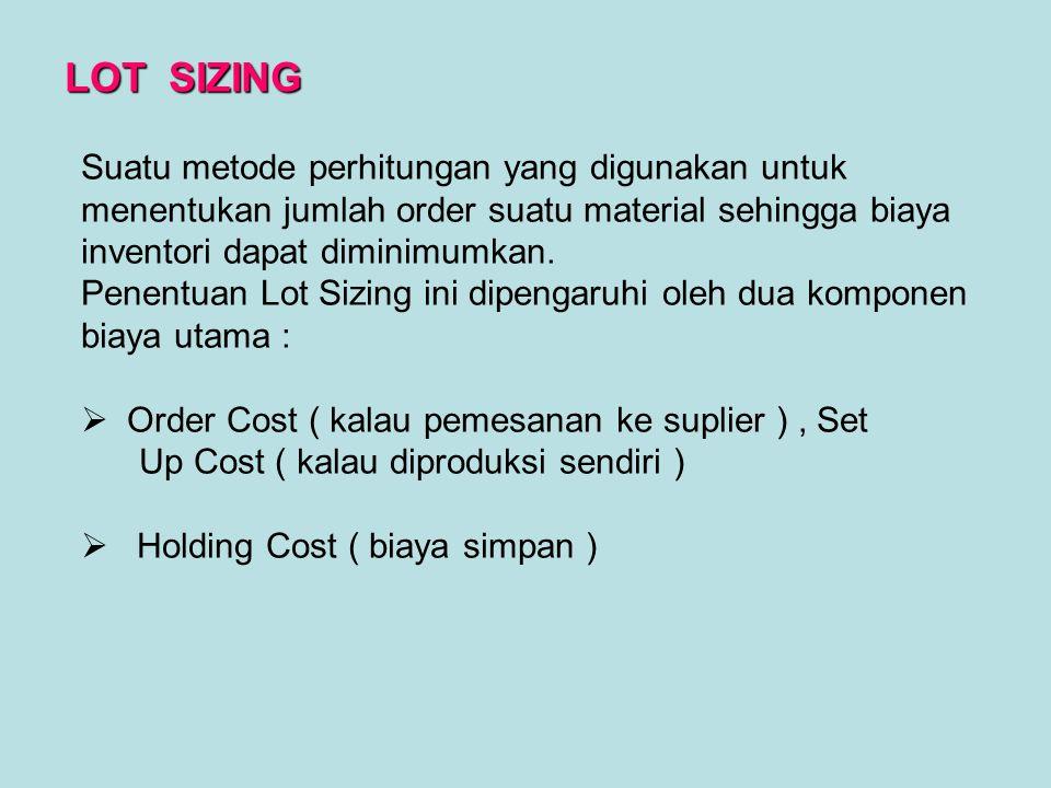 Suatu metode perhitungan yang digunakan untuk menentukan jumlah order suatu material sehingga biaya inventori dapat diminimumkan. Penentuan Lot Sizing