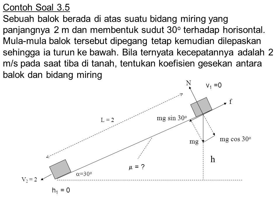 Contoh Soal 3.5 Sebuah balok berada di atas suatu bidang miring yang panjangnya 2 m dan membentuk sudut 30 o terhadap horisontal. Mula-mula balok ters