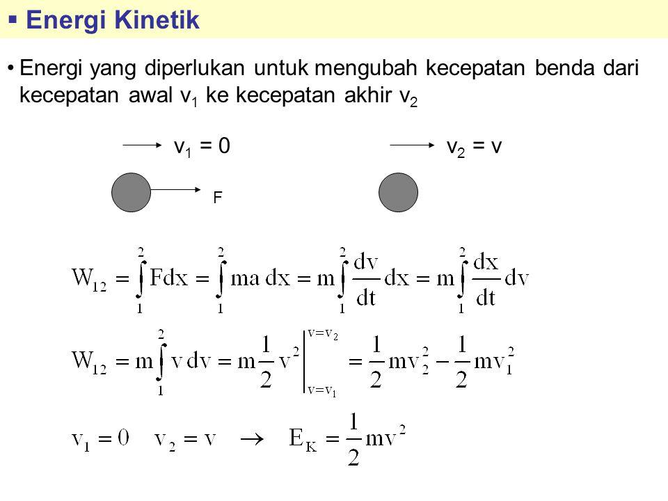  Energi Kinetik Energi yang diperlukan untuk mengubah kecepatan benda dari kecepatan awal v 1 ke kecepatan akhir v 2 v 1 = 0v 2 = v F
