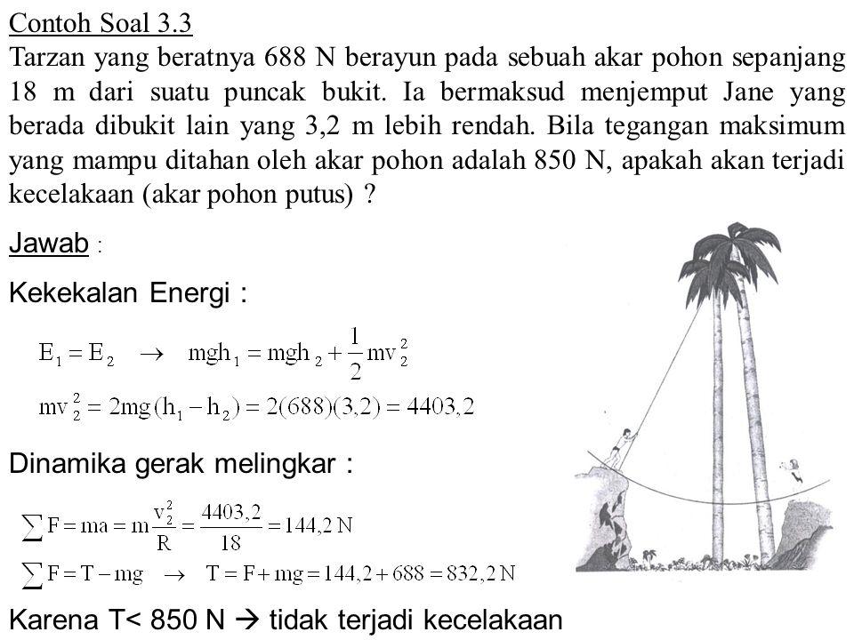 Contoh Soal 3.3 Tarzan yang beratnya 688 N berayun pada sebuah akar pohon sepanjang 18 m dari suatu puncak bukit. Ia bermaksud menjemput Jane yang ber