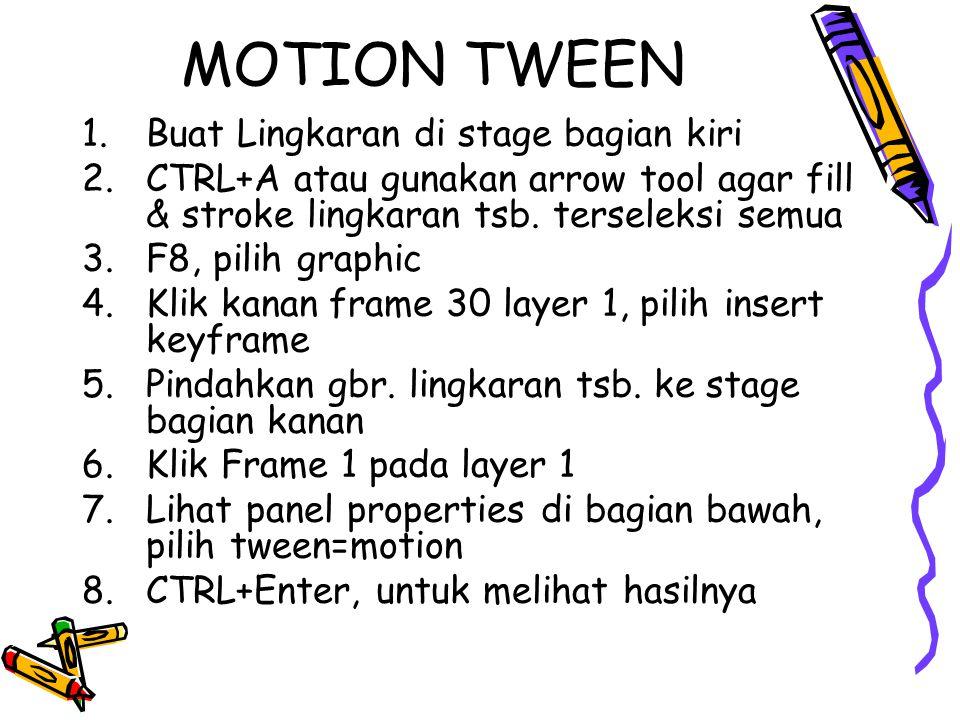MOTION TWEEN 1.Buat Lingkaran di stage bagian kiri 2.CTRL+A atau gunakan arrow tool agar fill & stroke lingkaran tsb.