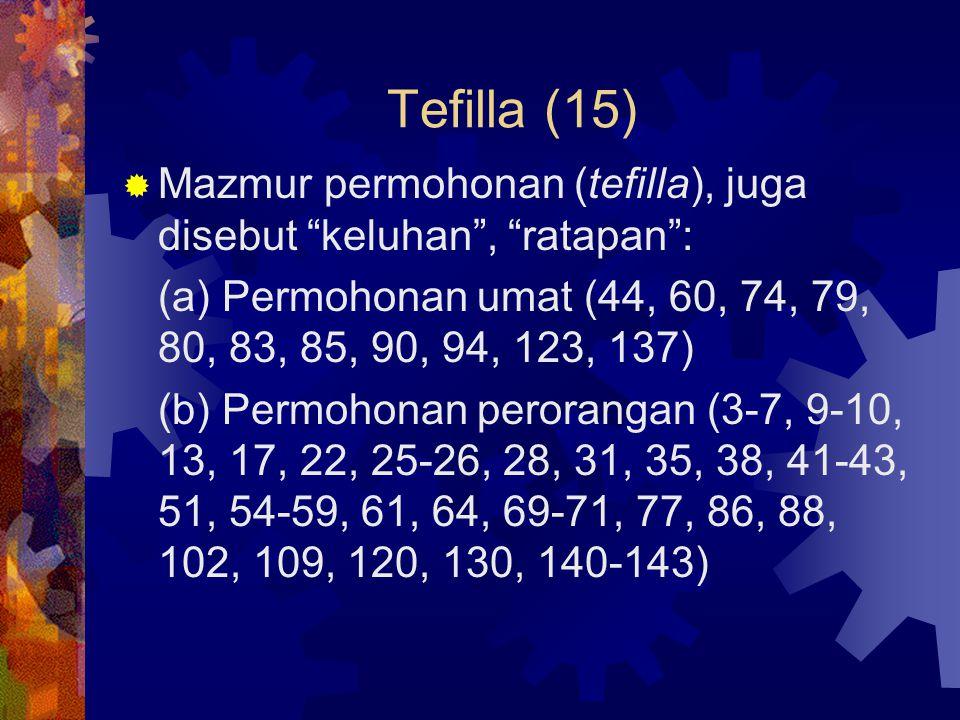"""Tefilla (15)  Mazmur permohonan (tefilla), juga disebut """"keluhan"""", """"ratapan"""": (a) Permohonan umat (44, 60, 74, 79, 80, 83, 85, 90, 94, 123, 137) (b)"""