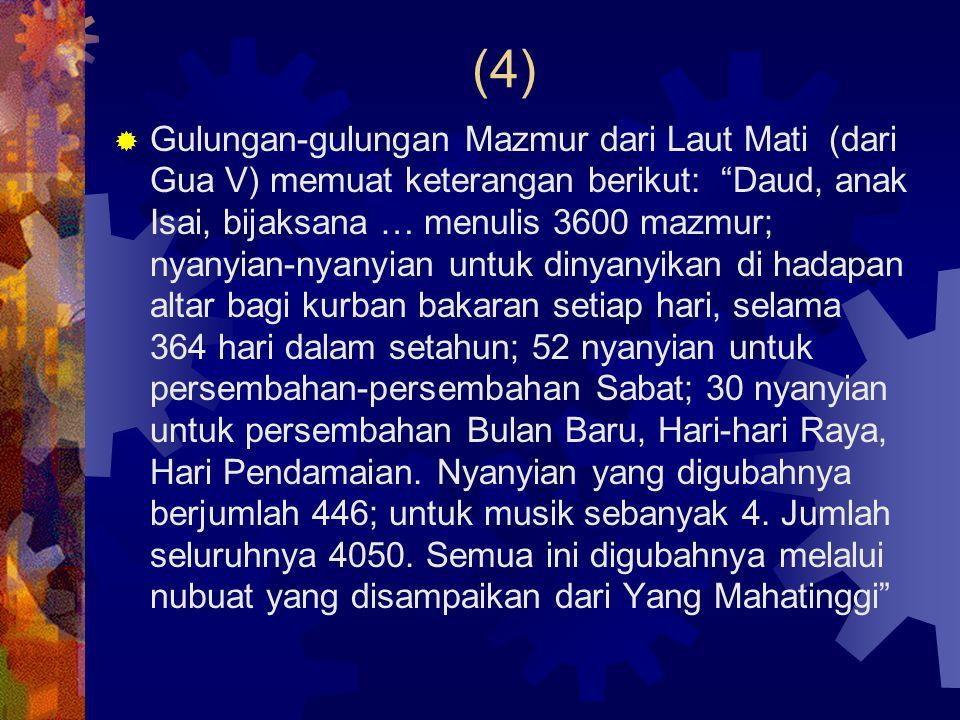 (5)  Nama-nama lain pada judul mazmur- mazmur: - bani Korah (11x, 42-49; 84-85; 87-88): keluarga penyanyi Bait Allah (1Taw 6.22) - Asaf (12x, 50, 73-83): seorang penyanyi Daud (1Taw 6.39; 15.17; 2Taw 5.12) dan keluarganya (Ezr 2.41) - Heman (88; bnd.