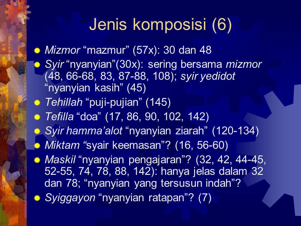 Tehilla (17)  Mazmur pujian (tehilla), disebut juga himnus: bersifat umum, mengagungkan Allah karena kebesaran-Nya, karya- Nya, kasih setia-Nya (8, 19, 29, 33, 47, 65, 66, 78, 93, 95-100, 103-104, 111, 113-114, 117, 134-136, 145-150)  Ciri-ciri: (a) seruan untuk memuji; (b) dasar atau alasan memuji ( sebab, karena )