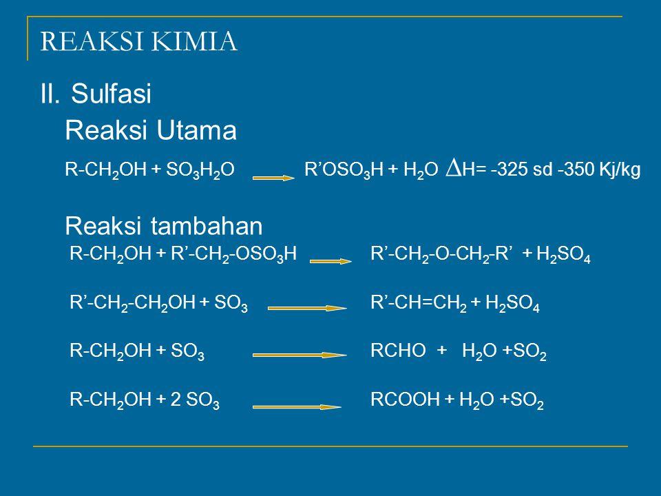 REAKSI KIMIA II. Sulfasi Reaksi Utama R-CH 2 OH + SO 3 H 2 OR'OSO 3 H + H 2 O  H= -325 sd -350 Kj/kg Reaksi tambahan R-CH 2 OH + R'-CH 2 -OSO 3 HR'-C