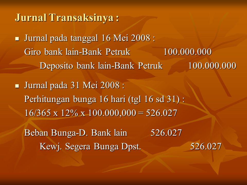 Jurnal Transaksinya : Jurnal pada tanggal 16 Mei 2008 : Jurnal pada tanggal 16 Mei 2008 : Giro bank lain-Bank Petruk 100.000.000 Deposito bank lain-Ba