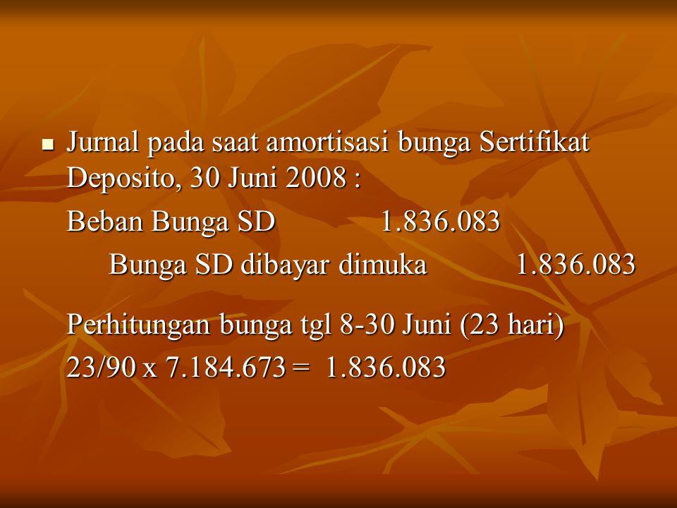 Jurnal pada saat amortisasi bunga Sertifikat Deposito, 30 Juni 2008 : Jurnal pada saat amortisasi bunga Sertifikat Deposito, 30 Juni 2008 : Beban Bung