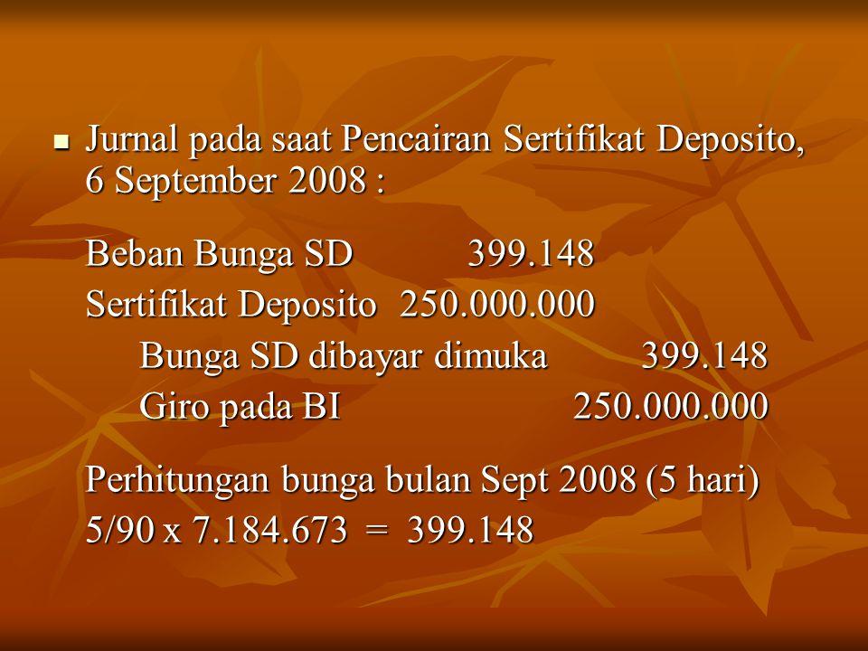 Jurnal pada saat Pencairan Sertifikat Deposito, 6 September 2008 : Jurnal pada saat Pencairan Sertifikat Deposito, 6 September 2008 : Beban Bunga SD 3