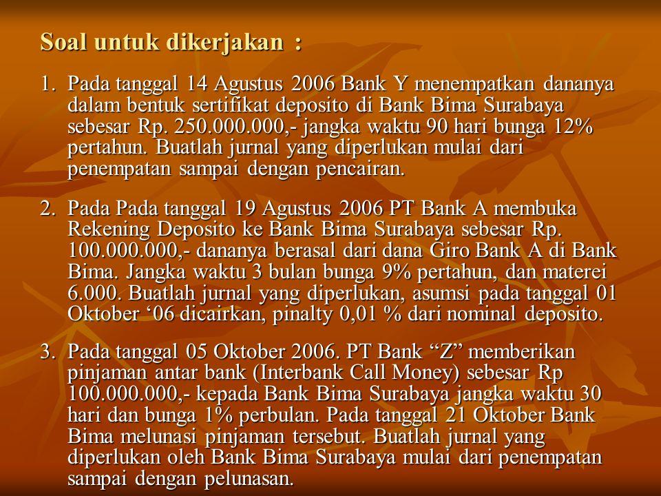 Soal untuk dikerjakan : 1.Pada tanggal 14 Agustus 2006 Bank Y menempatkan dananya dalam bentuk sertifikat deposito di Bank Bima Surabaya sebesar Rp. 2