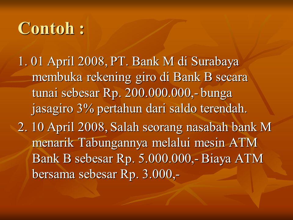 Jurnal Transaksi yang dibuat bank B : Tanggal 1 April 2008 : Kas 200.000.000 Giro bank lain-Bank M 200.000.000 Tanggal 10 April 2008 : Giro bank lain-Bank M 5.003.000 Kas-ATM 5.000.000 Pendapatan komisi 3.000