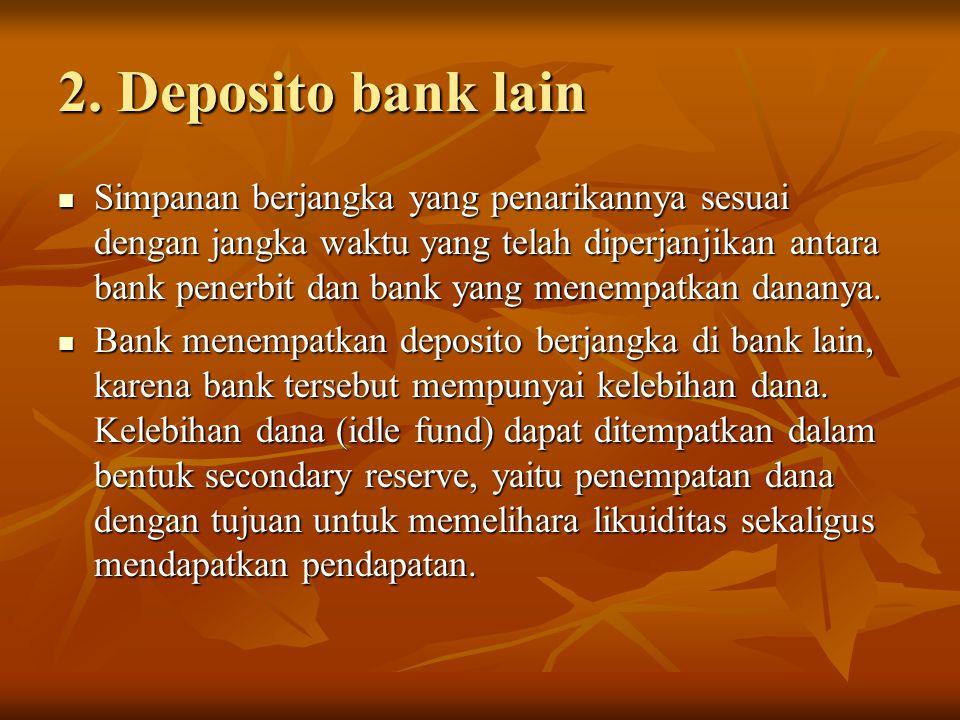 2. Deposito bank lain Simpanan berjangka yang penarikannya sesuai dengan jangka waktu yang telah diperjanjikan antara bank penerbit dan bank yang mene