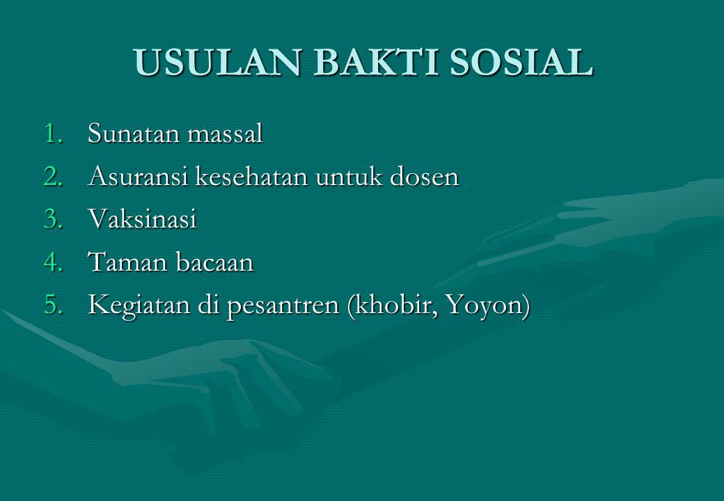 USULAN BAKTI SOSIAL 1.Sunatan massal 2.Asuransi kesehatan untuk dosen 3.Vaksinasi 4.Taman bacaan 5.Kegiatan di pesantren (khobir, Yoyon)
