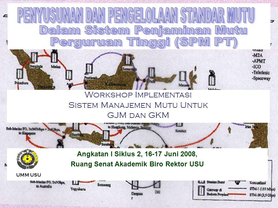 UMM USU 071 Workshop Implementasi Sistem Manajemen Mutu Untuk GJM dan GKM Angkatan I Siklus 2, 16-17 Juni 2008, Ruang Senat Akademik Biro Rektor USU U