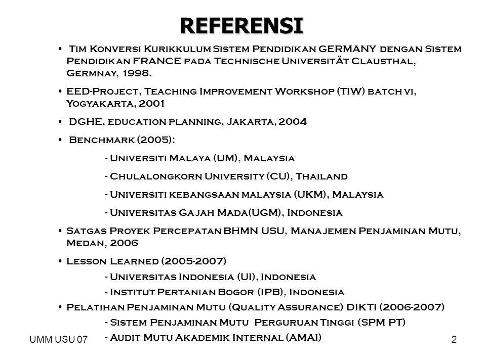 UMM USU 072 REFERENSI Tim Konversi Kurikkulum Sistem Pendidikan GERMANY dengan Sistem Pendidikan FRANCE pada Technische UniversitÄt Clausthal, Germnay