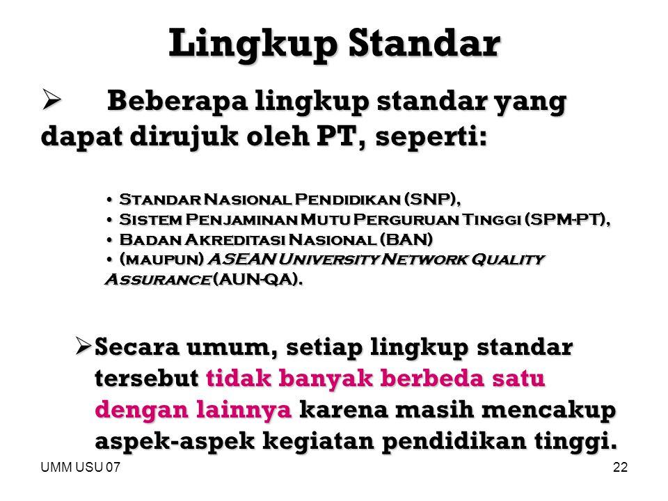UMM USU 0722 Lingkup Standar  Beberapa lingkup standar yang dapat dirujuk oleh PT, seperti:  Secara umum, setiap lingkup standar tersebut tidak bany
