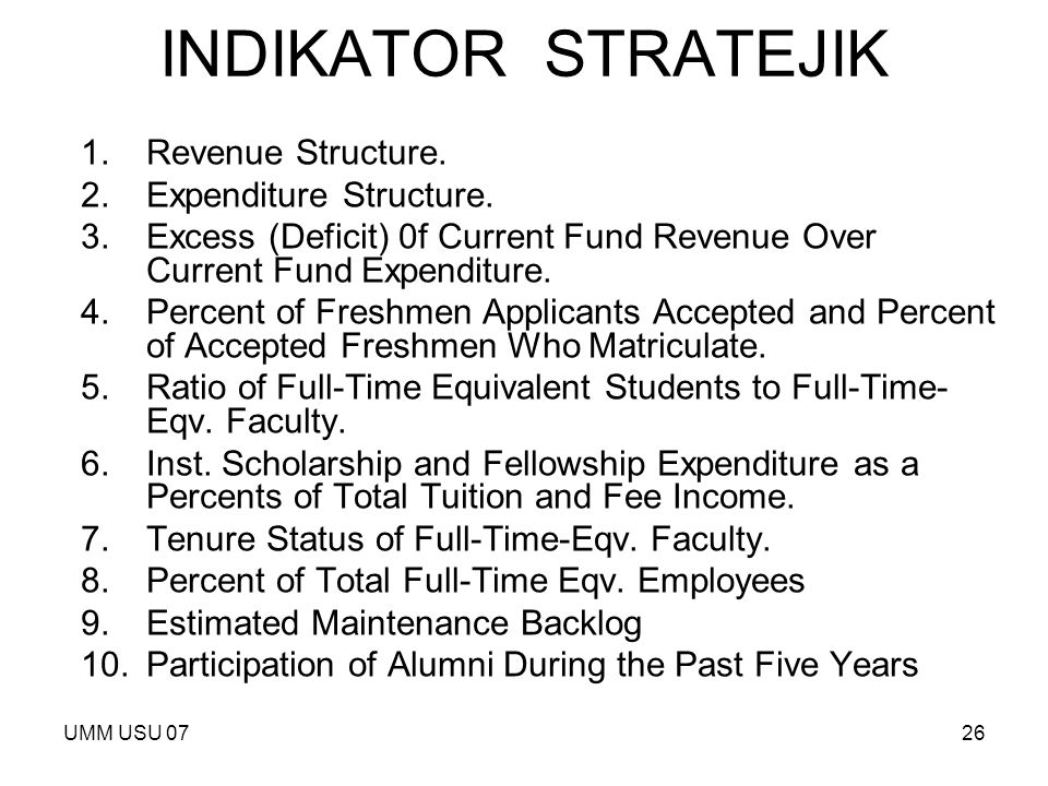 UMM USU 0726 INDIKATOR STRATEJIK 1.Revenue Structure. 2.Expenditure Structure. 3.Excess (Deficit) 0f Current Fund Revenue Over Current Fund Expenditur